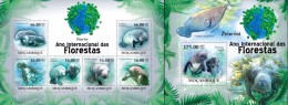 Mozambico 2011, Year of the forest, Manatees, 6val in BF +BF