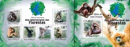Mozambico 2011, Year of the forest, Monkeys, 6val in BF +BF