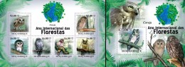 Mozambico 2011, Year of the forest, Owls, 6val in BF +BF