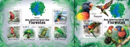 Mozambico 2011, Year of the forest, Parrots, 6val in BF +BF