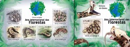 Mozambico 2011, Year of the forest, Snakes II, 6val in BF +BF