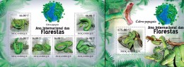 Mozambico 2011, Year of the forest, Snakes, 6val in BF +BF
