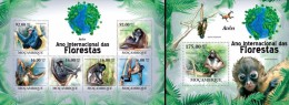 Mozambico 2011, Year of the forest, Spider monkey, 6val in BF +BF