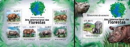 Mozambico 2011, Year of the forest, Sumatran Rhino, 6val in BF +BF