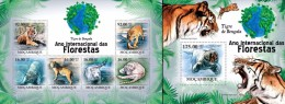 Mozambico 2011, Year of the forest, tigers, 6val in BF +BF