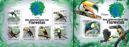 Mozambico 2011, Year of the forest, Toucans, 6val in BF +BF