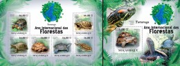 Mozambico 2011, Year of the forest, turtles, 6val in BF +BF