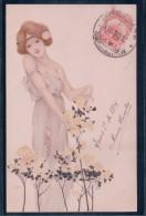 Kirchner Raphael, Art Nouveau, Femme Et Fleurs Litho (MMV 929) - Kirchner, Raphael