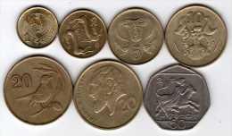 Chypre : Série De 7 Pièces Différentes 1983-1996 - Chypre