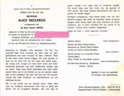 Declercq Alice Lefere Achiel Berghman Wybo Gits  Bidprentje Doodsprentje - Religione & Esoterismo
