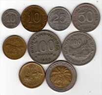 Indon�sie : Lot de 9 pi�ces 1971-1996 dont 1 BIMETAL