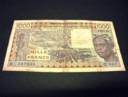 MALI 1000 Francs 1981,pick N°406D C,MALI, WEST AFRICA STATES - Mali