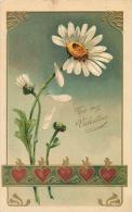 TO MY VALENTINE - DAISY FLOWERS - NOUVEAU - HEARTS - PFB 5695 - EMBOSSED VINTAGE ORIGINAL POSTCARD - Valentine's Day