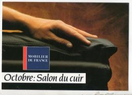 """MOBILIER DE FRANCE. """" OCTOBRE: SALON DU CUIR """" . CARTE PUBLICITAIRE. MEUBLE BERTRAND VILLENEUVE-SUR-LOT - Réf. N°12191 - - Commercio"""