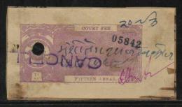 CHHATARPUR State  15A  Court Fee Type 5 K&M 61  # 87929  Inde Indien  India Fiscaux Fiscal Revenue - Travancore-Cochin