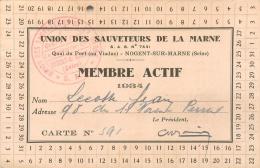 Carte De Membre Actif Union Des Sauveteurs De La Marne, 1934 - Vieux Papiers