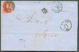 N°12 - Médaillon 40 Centimes Vermillon, Touché, Obl.  P.4 Sur Lettre  D'ANVERS Le 13-4-1863 Vers Paris. - 10848 - 1858-1862 Médaillons (9/12)