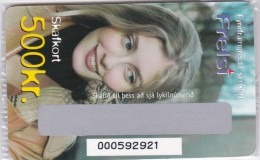 Iceland, SIM-REF- ?, Frelsi 500 Kr., GSM Refill, Woman, Mint In Blister 2 Scans.