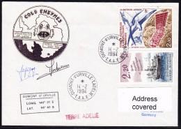 """ANTARCTIC, BELGIEN On TAAF,d´URVILLE,14.2.1994, """"COLD ENTYMES"""" Uni Of Liege,Cachets +2x Sign,.24.11-23 - Antarctische Expedities"""