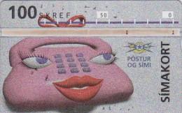 Iceland, ICE-D-08, 100 SKREF, 1993 Telephone Lady, 2 Scans.