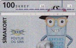 Iceland, ICE-D-09, 100 SKREF, 1993 Telephone Man, 2 Scans. - Iceland