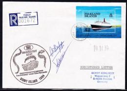 """ANTARCTIC, BELGIEN On SIGNY,1994, """"Mariene Biologie"""",UNI GENT,Cachet + 2 Signatures, REGISTRED !! 24.11-20 - Antarctische Expedities"""