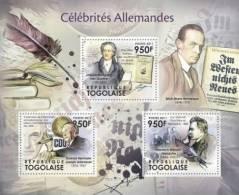 TOGO 2011 - German Celebrities: Goethe, Nietzsche, Adenauer, Remarque - YT 2734-6, Mi 4312-4 - Histoire