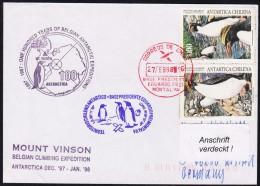 """ANTARCTIC, BELGIEN On Base FREI ,1998, """" MOUNT VINSON Climbing Exped. """",3  Cachets , Look Scan !! 24.11-06 - Antarctische Expedities"""