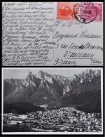 CAD SUR TIMBRE ROMANIA 4 ET 3 SUR CPA BUSTENI - Marcofilie