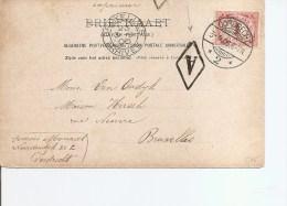 """Pays-Bas ( Carte Postale De 1906 De Dordrecht Vers La Belgique -Marque """"A"""" Encadrée à Voir) - Brieven En Documenten"""