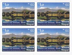 Nepal 2015 Mountain Mountains Berge Fewa Lake Machhapuchhare Pokhara MNH ** Block Of Four - Nepal