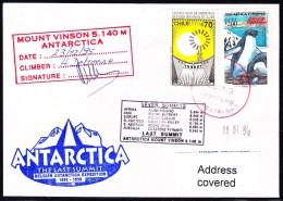 """ANTARCTIC, BELGIEN , 1995/96 """" Exp. MONT VINSON Last Summit """",  3 Cachet + Sign Climber , Look Scan !! 24.11-18 - Antarctische Expedities"""