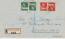 SUISSE 1930 LR DE ZURICH POUR LONDRES - Schweiz