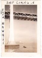 Photo Originale Bateau - Arriv�e d'un Paquebot arrivant de Hawa� - Pont - Remorqueur - Ship comming in From Hawa�