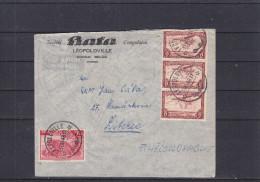 Congo Belge - lettre de 1948 - oblit�ration L�opoldville - avions - f�lins