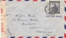 Congo Belge - lettre de 1944 - oblit�ration Matadi - avec censure - exp�di� vers l'Afrique du Sud - soldats - fusils