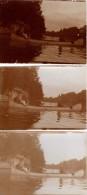 Photo Originale Bateau - 3 Epreuves - Promenade en grand Cano� - 3 Femmes � la Pagaye - Fleuve et maison