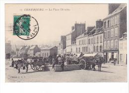25501 Cherbourg - La Place Divette -17 Ed G B P - Attelage Charette
