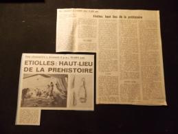 Coupure de presse Offre PROMO voir description Etiolles Haut lieu de la Prehistoire Des Chasseurs y vivaient il y a 1500