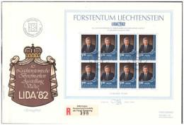 Liechtenstein 1982 FDC LIBA'82 Prince Hans Adam S/S - FDC