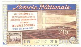 Billet Loterie Nationale - Oeuvres Sociales De L´industrie Cinématographique - 1943 - Billets De Loterie