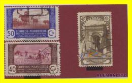 MARRUECOS  COLONIAS ESPAÑOLAS   3 SELLOS AÑOS  1928 -44 - Marruecos Español