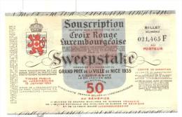 Billet Loterie - Croix Rouge Du Luxembourg - Sweepstake - Grand Prix De La Ville De Nice 1935 - Billets De Loterie