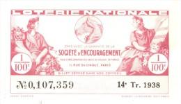 Billet Loterie Nationale - Société D'encouragement Pour L'amélioration Des Races De Chevaux - 1938 - Billets De Loterie