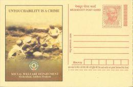 Meghdoot PC,Gandhi Motiff, 2008 English Language,Untouchability Is Crime, Social Welfare Department - Ganzsachen