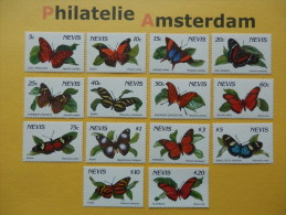 Nevis 1991, FAUNA INSECTS BUTTERFLIES SCHMETTERLINGE VLINDERS PAPILLONS MARIPOSAS: Mi 572-85, ** - Butterflies