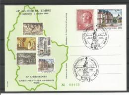 CARTE COMMEMORATIVE 50e ANNIV. SOC. PHIL. ARDENNAISE WILTZ TP N° 727 + 1201 (CACHET POSTAL DE WILTZ) (SCAN VERSO) - Cartes Commémoratives