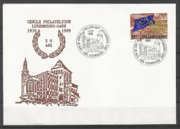 ENVELOPPE COMMEMORATIVE 50 ANS CERCLE PHILATELIQUE LUXEMBOURG-GARE TP N° 1222 (CACHEL POSTAL DE LUXEMBOURG) (SCAN VERSO) - Cartes Commémoratives