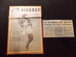 Coupure de Presse PROMO voir description Le Divorce des Delon prononc� aux torts r�ciproques 1969