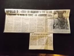 Coupure de Presse PROMO voir description Apollo 9 Quelle vue Magnifique Schweichart Babouches d OR 1969